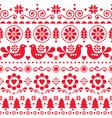 christmas folk art seamless pattern vector image vector image