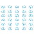 cloud line icons set outline linear pictograph vector image