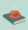 coffee hot with book vector image vector image