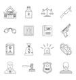 Crime and punishment icons set outline style vector image vector image