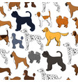 cute seamless pattern with cartoon dogs different vector image vector image