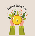 daylight saving time abstract design with hands vector image vector image