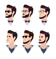 flat cartoon hipster character set vector image vector image