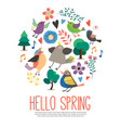 flat hello spring round concept vector image vector image