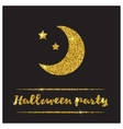 Halloween gold textured moon icon vector image vector image