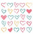 hand drawn hearts bundle bruch stroke heart shape vector image