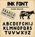 hand made ink stamp font handwritten alphabet vector image