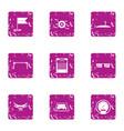latest technology icons set grunge style vector image vector image