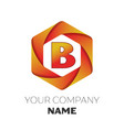 letter b logo symbol on colorful hexagonal vector image vector image
