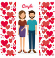 lovers couple with hearts pattern vector image vector image