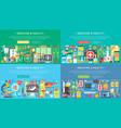 medicine and health horizontal flat concept design vector image