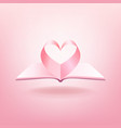 open book and shape heart isolated vector image vector image