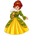 Queen in green and yellow dress vector image vector image
