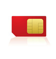 red mobile phone sim with reflection in white back vector image vector image