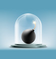 round bomb with a wick under a glass dome vector image