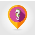 Sea Horse flat mapping pin icon with long shadow vector image vector image