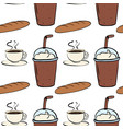 seamless pattern tile cartoon with coffee and vector image