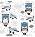 seamless pattern with cute panda in pilot cap vector image