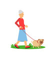 senior woman walking with a dog pensioner people vector image vector image