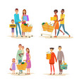 set family shopping characters with purchases vector image