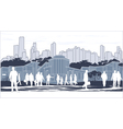 silhouettes of people on blue town outline vector image vector image