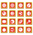 sport balls icons set red square vector image vector image