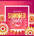 summer sale background with flowers vector image