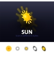 Sun icon in different style vector image vector image