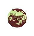 Vintage Farm Tractor Circle Woodcut vector image vector image