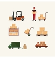 Warehouse transportation and delivery icons flat vector image vector image