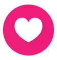 white heart in a pink circle in flat design vector image vector image