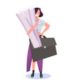 woman architect holding rolled up blueprints happy vector image