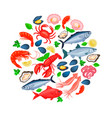 icons seafood vector image