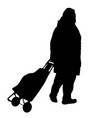 old woman silhouette with luggage vector image