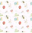 Seamless background with cartoon insects vector image