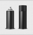 3d realistic black blank spray can spray vector image vector image