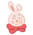 a grumpy faced hare wearing a red neck ribbon tie vector image vector image