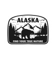 alaska badge design mountain adventure patch vector image vector image