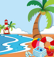 Beach scene with lighthouse and toys vector image vector image