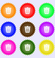 Bin icon sign A set of nine different colored vector image