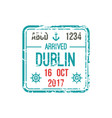 border control stamp in dublin airport visa mark vector image vector image