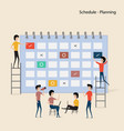 calendar with schedule planspeople filling out vector image