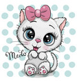 cartoon white kitten with a pink bow on a dots vector image vector image