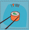 chopsticks holding sushi roll maki vector image vector image