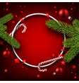 christmas round background with fir branches vector image vector image