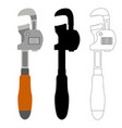 classic pipe wrench set vector image vector image