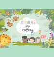 cute frame composed cartoon kids traveling with vector image