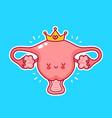 cute happy funny woman uterus organ vector image vector image