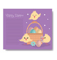 cute little chicks with basket and eggs easter vector image