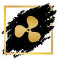 fan sign golden icon at black spot inside vector image vector image